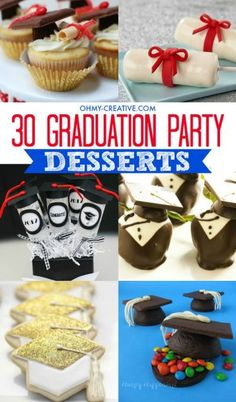 Create a spectacular graduation party dessert table by adding a few of these 30 Graduation Party Dessert Ideas | OHMY-CREATIVE.COM