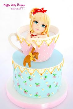 Girl in a Teacup Cake - Cake by SweetLin