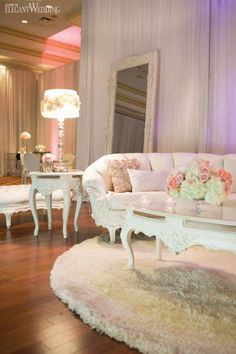 Christina & Anthony | Florals & Decor: Royal Orchid Florist | Pink Decor | Rentals: Luxe Rentals | Plush Antique Lounge Chairs & Sofas