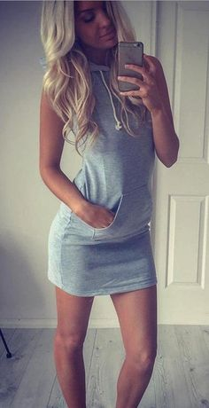 This active dress provides cozy and comfortable texture with fashionable design.  Fashionable and liberal, it's a great gift for your lover or yourself. High-quality dress with cheap price: http://www.cutedresses.co/product/fashion-women-summer-casual-sleeveless-hoody-dress/