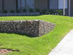 gabions - on a terraced lawn
