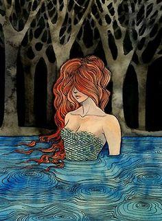 Mermaid in the Enchanted Woods. Fantasy Art.