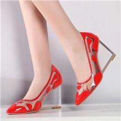 Shoespie Contrast  Material Crystal Heel Wedge Heels