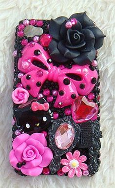 Black hello kitty decoden phone case
