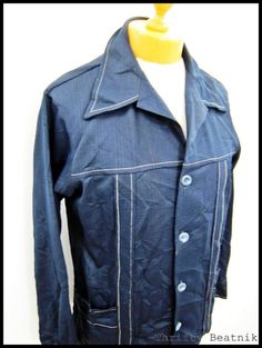 Vintage 1970s 70s ROCKABILLY DISCO BLue Indie Mod Men's Disco Shirt XL 42 | eBay