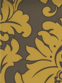Mustard Damask Wallpaper | AmericanBlinds.com