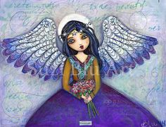 Suzi Blu Print of Mixed Media Original Harvest Angel by SuziBlu