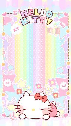 Sanrio Wallpaper, Rainbow Wallpaper, Kawaii Wallpaper, Pink Wallpaper, Hello Kitty Pictures, Kitty Images, Hello Kitty Backgrounds, Hello Kitty Wallpaper, Hello Kitty Invitations