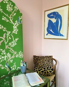 A chic office nook by @mellyindc. Featuring a cherry blossom inspired room divider to keep her at home office clean and open plus totally chic. Paired with leopard print and a Matisse-inspired poster plus sweet blush wall paint. The perfect combination for a dream work from home space. Wingback Headboard, Upholstered Furniture, Art Deco Bed, Blush Walls, Home Office Decor, Office Nook, Office Ideas, Maximalist Interior, Modern Sectional