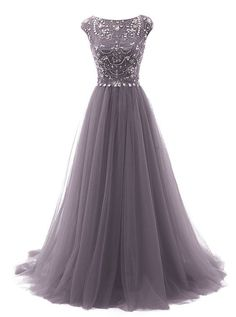 Grey Floor Length Tulle A-Line Prom Dress Featuring Beaded Embellished Cap Sleeves Bodice - womens party dresses, shopping dress, beautiful dresses for women *sponsored https://www.pinterest.com/dresses_dress/ https://www.pinterest.com/explore/dress/ https://www.pinterest.com/dresses_dress/bridesmaid-dresses/ http://www.express.com/clothing/women/dresses/cat/cat550007
