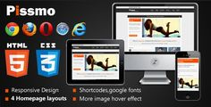 Pissmo Clean Responsive HTML5 Template . Pissmo has features such as High Resolution: No, Compatible Browsers: IE8, IE9, Firefox, Safari, Opera, Chrome
