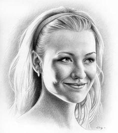 Sarah Walker, Walker Art, Pencil Art, Pencil Drawings, Art Drawings, Portrait Sketches, Pencil Portrait, Sarah Lancaster, Yvonne Strahovski