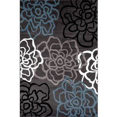 World Rug Gallery Contemporary Modern Floral Flowers Area Rug, Grey