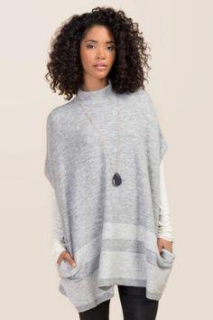 3bd7c6e71502b Alexandra High Neck Striped Poncho Cardigan Sweaters For Women
