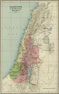 """Palestine 1020 B.""""Palestine in the time of Saul."""" From Atlas of the Historical Geography of the Holy Land."""