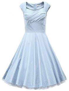 Forever&Love Women's 1950s Vintage Retro Party Swing Dress Light Blue Polka Dot S