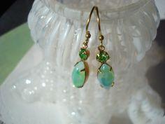 Fun playful sexy glowing green glass rhinestone earrings, green opal earrings, summer spring jewelry