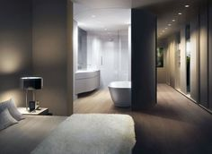 Loft Master Bedroom and Bathroom Design by UNStudio - movable curved wall  .. This is awesome!
