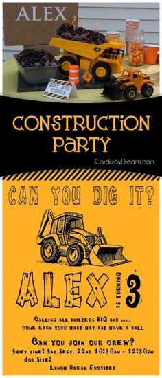 Construction Birthday {party idea} CorduroyDreams.com: