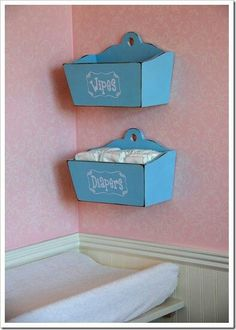 Diaper & wipes holder for the wall . this is a great idea for nursery Baby Boys, Our Baby, Nursery Organization, Nursery Storage, Wall Storage, Organization Ideas, Storage Ideas, Diaper Organization, Hanging Storage