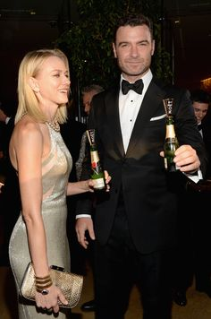 Liev Schreiber and Naomi Watts Are Popping (Mini) Bottles.  Liev Schreiber and Naomi Watts both wore Tom Ford and looked stunning as they prepped to walk the red carpet together at the 2014 Golden Globe Awards in LA on Sunday.