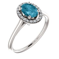 London Blue Topaz Diamond Halo Engagement Ring by PristineJewelry, $580.00