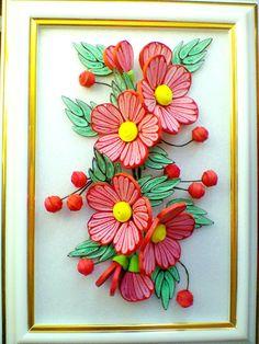 Квиллинг Красные цветы