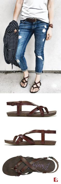 Celebrate strappy sandals in the Blowfish Granola Footbed Sandal! Courtney of Courtney's Fit Life perfects casual-cool in a simple white tee, ripped denim and her go-to sandals. This footbed style offers ultimate comfort with a crisscross strap design and adjustable strap with buckle closure.