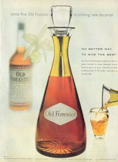 1955 Old Forester Whiskey Vintage Decanter PRINT AD