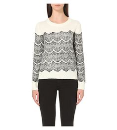 MAJE Scalloped Floral-Lace Knitted Jumper. #maje #cloth #knitwear