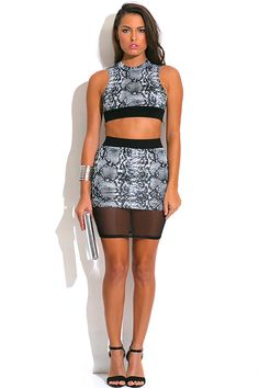 d89c6926b37 GRAY AND BLACK SNAKESKIN ANIMAL PRINT CROP TOP AND MINI SKIRT TWO PIECE SET