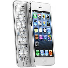 Ultra-Slim Slide-Out Bluetooth Keyboard Case for iPhone 5, White 31756