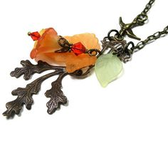 Vintaj Brass Floral Pendant Necklace Orange by jewelrybyNaLa