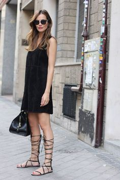 black dress with lace-up flats