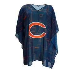 """Officially Licensed NFL """"Trace"""" Caftan - Chicago Bears Light as air and surprisingly versatile, this semi-sheer caftan with bold team graphics can be tossed over a swimsuit or leggings for effortless, game-winning style. Chicago Football, Bears Football, Football Fans, Chicago Bears Women, Nfl Arizona Cardinals, Nfl Carolina Panthers, Sweaters For Women, Clothes For Women, Tunics"""