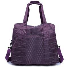 Women purple luggage travel bag Nylon waterproof large capacity handbag one shoulder with strong handle mala de viagem