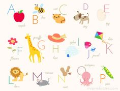 Mr Printables Alphabet Poster - make into kids table place mats