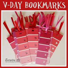 Everyday Art: Classroom Valentine's: Paint card bookmarks