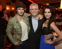 """Adelaide Kane mingles with The Vampire Diaries' Ian Somerhalder -- The CW Network's 2013 Upfront Party at Finale in New York City on Thursday, May 16, 2013 – Pictured (L-R): Ian Somerhalder """"The Vampire Diaries""""), Mark Pedowitz, President, The CW Network, and Adelaide Kane (""""Reign"""") -- Photo: David Giesbrecht/The CW – © 2013 The CW Network, LLC. All rights reserved."""
