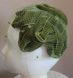 Vintage Olive Velvet Cap Hat Veil Maxine Hats by soulrust on Etsy, $36.99