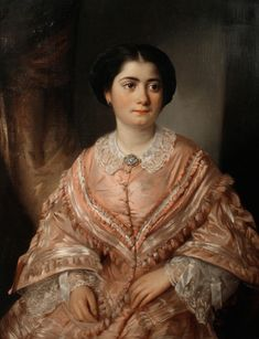 Portrait of a young woman in a pink dress (possibly Cariclia Couvelas). Oil on canvas, by Aristides Oeconomo, private collection Oil Portrait, Female Portrait, 1850s Fashion, 19th Century Fashion, Portraits, Old Art, Artist Painting, Fashion History, Historical Photos