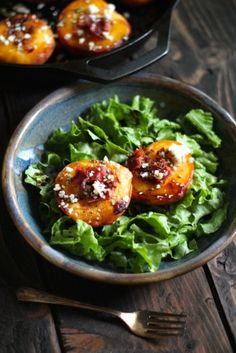 Cast Iron Roasted Peaches with Bacon, Bleu Cheese & Rosemary