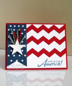 handmade patriotic card ... God Bless America .. die cut chevron stripes of red and white ... wide navy fishtail banner with a single die cut star .. like the overall design of this card ...