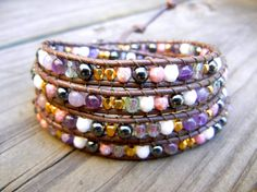 Beaded Leather Wrap Bracelet 4 Wrap with Gold by BetsyGraceJewelry, $58.00