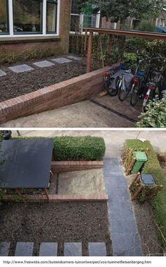 Dutch Gardens, Small Gardens, Outdoor Gardens, Garden Bike Storage, Tree House Interior, Minimalist Garden, Hillside Landscaping, Bike Shed, Backyard Paradise