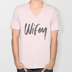 Wifey - Black and White Watercolor  V-neck T-shirt by Jenna Kutcher - $24.00