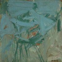 Matti Basis (Israeli, b. 1933) Title: Composition , 1962 Medium: oil on canvas Size: 60 x 60 cm. (23.6 x 23.6 in.)