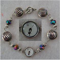 "Bracelet Black Cat Link Jewelry Handmade NEW 8"" Black Silver Accessories Fashion #Handmade #Chain"