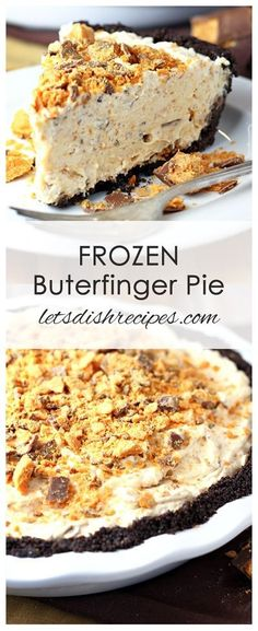 Frozen Butterfinger Pie Recipe Cream cheese, whipped cream and Butterfinger candy bars come together in a chocolate crumb crust for a cool, creamy frozen pie everyone will love! Frozen Desserts, No Bake Desserts, Easy Desserts, Frozen Pies, Frozen Cake, Summer Desserts, Fall Deserts Recipes, Easy Delicious Desserts, Easy Birthday Desserts
