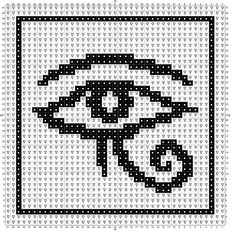Jackpot! Can't wait for this project to come together - Eye of Horus knit Chart. Free PDF download Peyote Patterns, Loom Patterns, Cross Stitch Designs, Cross Stitch Patterns, Modele Pixel, Beaded Cross Stitch, Celtic Cross Stitch, Crochet Eyes, Pixel Art Templates